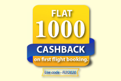 Flat 1000  Cashback on First flight booking.