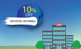 10% off on hotel booking . Use code - HOTDEAL